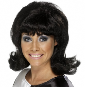 60'S Flick-Up Wig, Black or Blonde